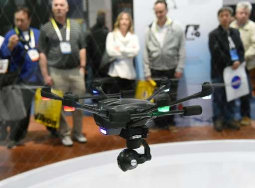 One of the latest drones, a Yuneec Typhoon H craft is seen during CES in Las Vegas, in January 2016