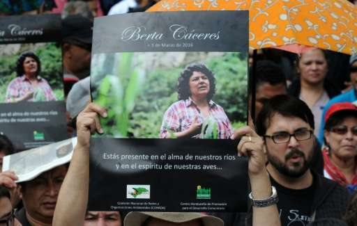 People attend the funeral of murdered indigenous activist Berta Caceres, in La Esperanza, on March 5, 2016, Honduras