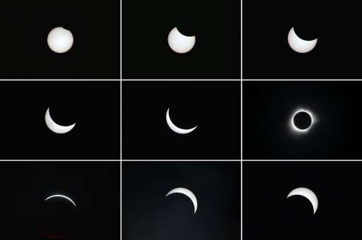 Photo combos show the moon passing in front of the sun (top L to bottom R) during a total solar eclipse in the city of Ternate,