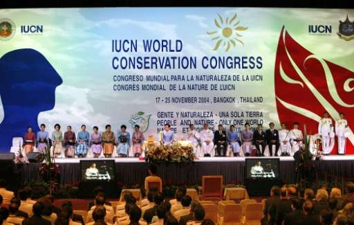 Queen Sirikit of Thailand (C-in blue) presides over the opening session of the third IUCN World Conservation Congress at the Que
