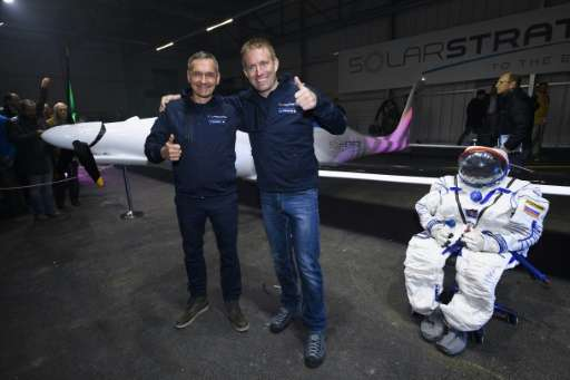 Raphael Domjan (right) and Thierry Plojoux in front of SolarStratos on December 7, 2016 in Payerne, Switzerland