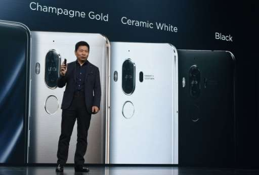 Richard Yu, CEO of Huawei Consumer Business Group, presents the new Huawei Mate 9 in Munich, southern Germany, on November 3, 20