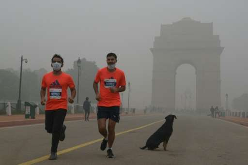 Runners take part in the New Delhi 10K Challenge amid heavy smog on November 6, 2016