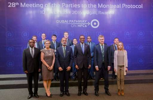 Rwandan President Paul Kagame (3rd R) poses with participants during the official opening of the 28th meeting of the Parties to