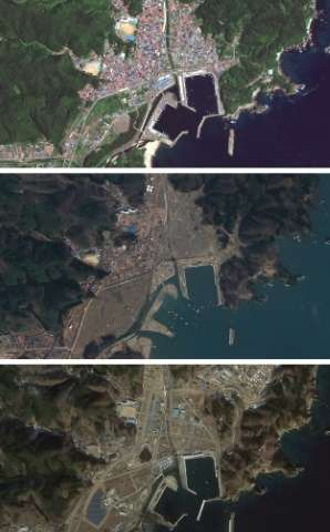 """Satellite images from Google's """"East Japan Earthquake digital archive project"""" show the Japanese city of Miyako in Jul"""