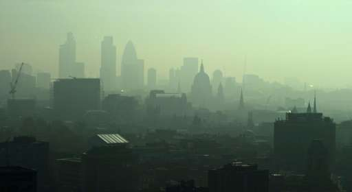 Smog in the early morning sunlight over central London