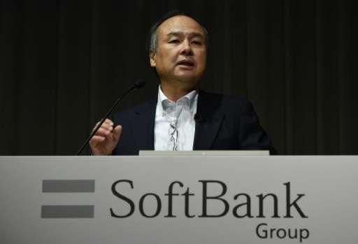 Softbank founder Masayoshi Son at a press conference in Tokyo on May 10, 2016