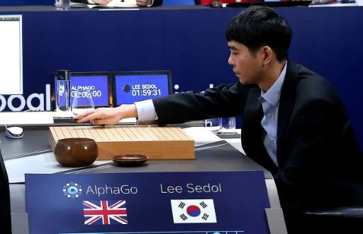 South Korea's Lee Se-Dol—one of the greatest modern players of the ancient board game Go—makes a move during his match against t