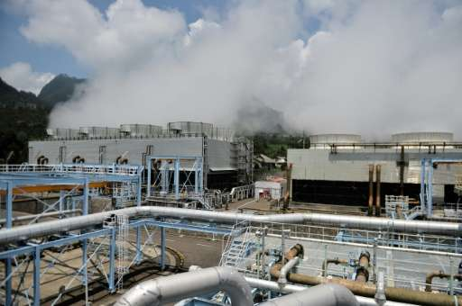 Steam rises from the Wayang Windu geothermal power station on West Java