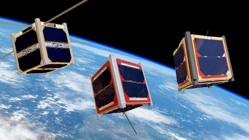 Student satellites fly freely on their orbit in space