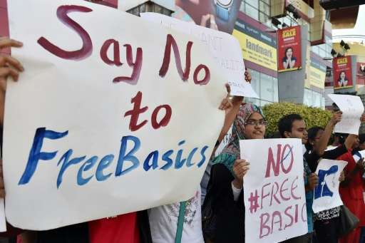 Supporters of Free Software Movement Karnataka protest against Facebook's Free Basics initiative, in Bangalore on January 2, 201