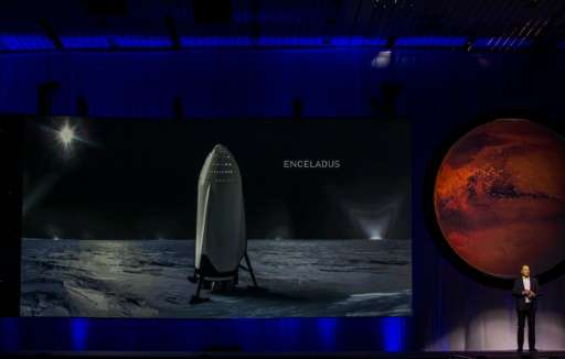 """Tesla Motors CEO Elon Musk speaks about the """"Interplanetary Transport System"""" which aims to reach Mars with the first"""