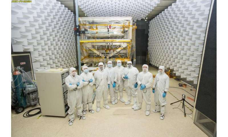 Testing the James Webb Space Telescope with radio waves