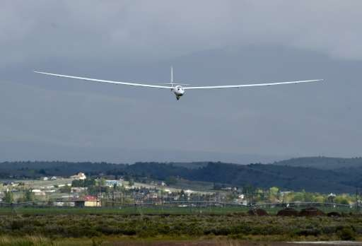 The Airbus Perlan 2 returns to the landing strip following a test flight by Airbus Group CEO Tom Enders and chief pilot Jim Payn