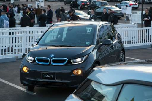 The BMW i3 electric car, pictured on January 8, 2016, has eucalyptus fibers in the dashboard