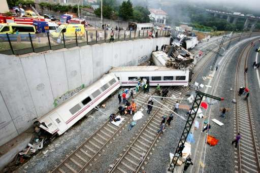 The driver of a Spanish train that crashed in 2013 outside Santiago de Compostela was speaking on a mobile just before the train