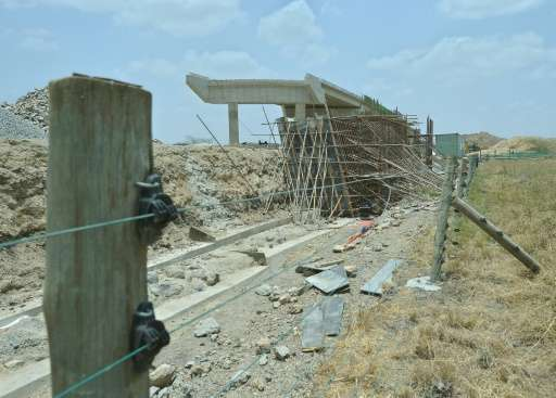 The foundation of the Standard Gauge Railway under contruction within the Nairobi National Park's boundary