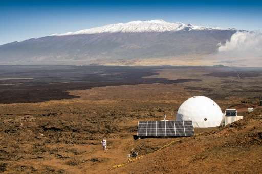 The HI-SEAS habitat on the northern slope of Mauna Loa in Hawaii where six people lived in isolation for a year in a NASA experi