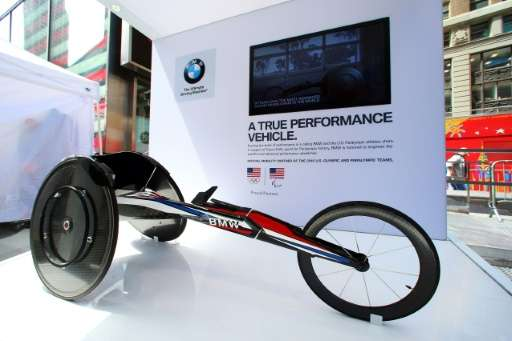 The machine, created by BMW's California-based firm Designworks and customized to fit each athlete, is made from carbon fiber