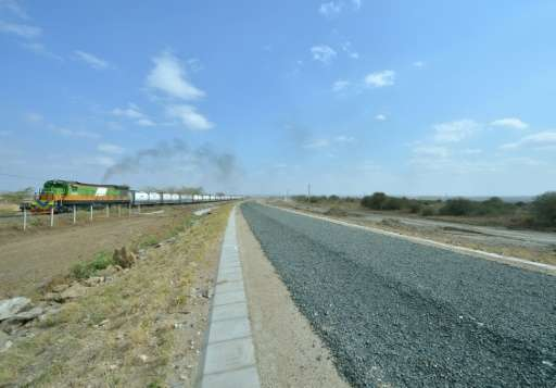 The new Standard Gauge Railway will run parallel to the old railway (pictured) on the outskirts of Nairobi National Park