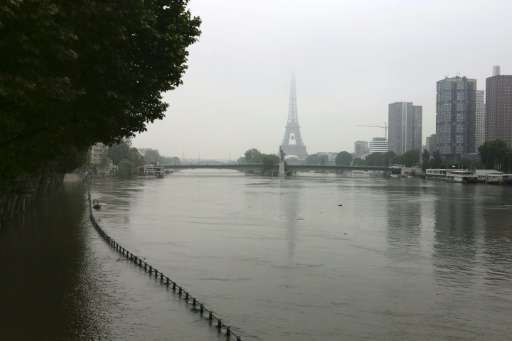 The river Seine near the Eiffel tower after its banks became flooded following heavy rainfalls on June 6, 2016