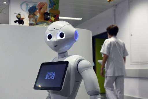 The robot Pepper during a  press conference oat the CHR Citadel hospital centers of Liege on June 13, 2016