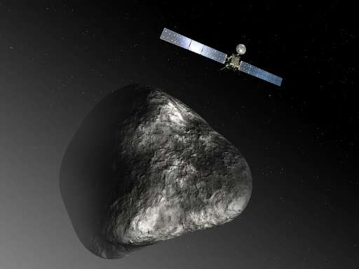 The Rosetta spacecraft measures 32 m across including the solar arrays, while the comet nucleus is thought to be about 4 km wide