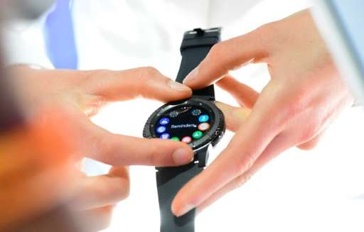 The Samsung Gear S3 smart watch is presented at the IFA (Internationale Funkausstellung) electronics trade fair in Berlin on Aug