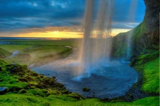 The Seljalandsfoss waterfall in southern Iceland