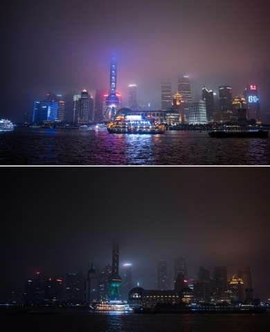 The Shanghai skyline pictured before and after the lights were switched off for the Earth Hour campaign on March 19, 2016