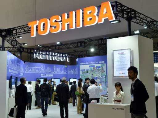 The Toshiba booth at an electronicss exhibition in Yokahama
