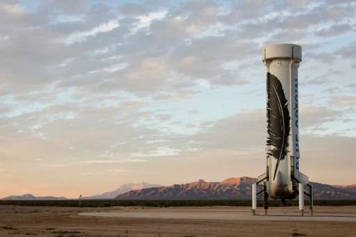 This image obtained November 24, 2015 from Blue Origin, shows the world's first reusable rocket after a successful landing at a