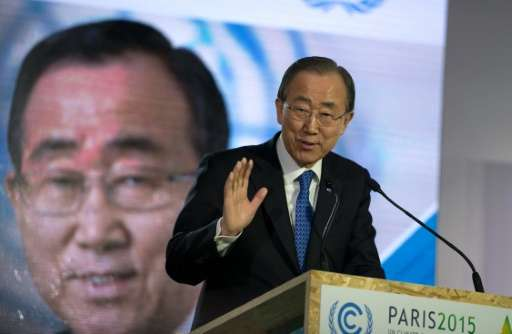 United Nations General Secretary Ban Ki Moon, pictured on December 10, 2015 during the COP 21 conference at Le Bourget, in the n