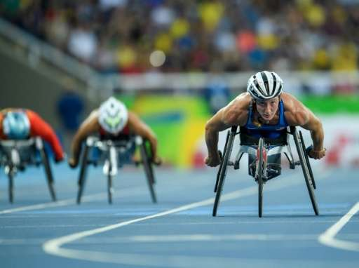 US' Tatyana McFadden winning the Gold Medal in the Women's 400m  in Rio de Janeiro
