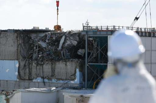 View of the No. 3 reactor building during a media tour of Tokyo Electric Power Co's (TEPCO) Fukushima Daiichi nuclear power plan