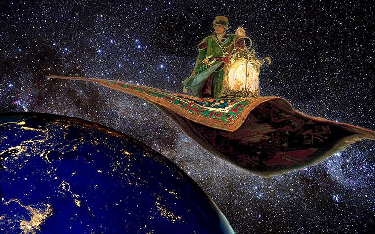 Will orbiting flying carpets light the world?