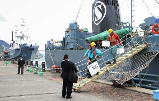 Workers disembark from a whaling ship at the port of Shimonoseki in western Japan on March 24, 2016