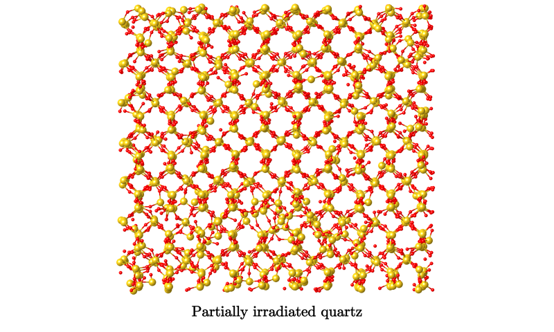 Atomic structure of irradiated materials is more akin to liquid than glass