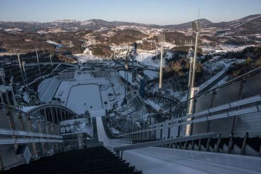 A view from the top of ski jump venue of the 2018 Pyeongchang Winter Olympic Games in South Korea
