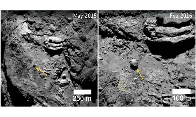 Before and after: Unique changes spotted on comet 67p/Churyumov-Gerasimenko