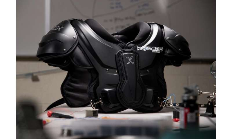 Football helmet smartfoam signals potential concussions in real time