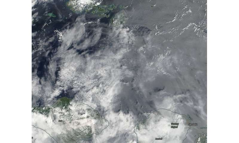 Image: NASA sees Mount Agung's ash cloud over the Bali Sea