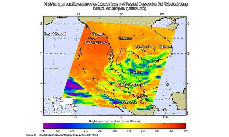 NASA captures Tropical Depression Kai-Tak's final bow