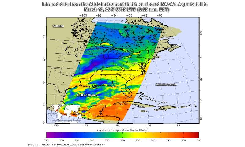 NASA, NOAA satellites see winter storm madness 'March' to the East
