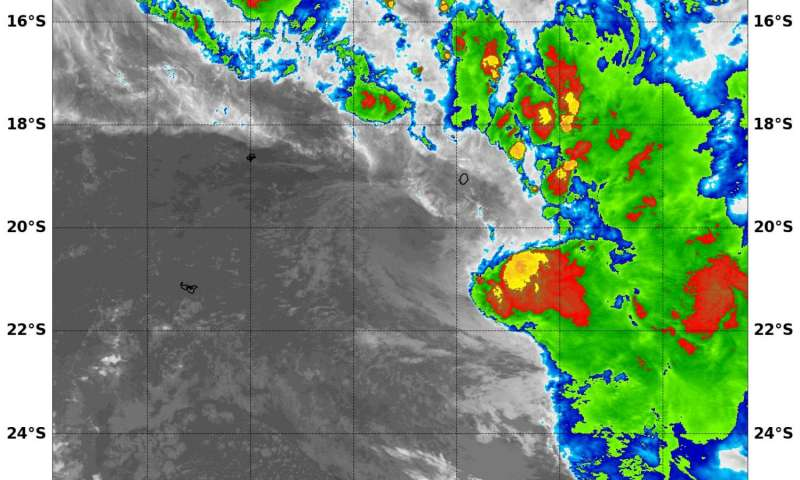 NASA's Aqua satellite spots development of Tropical Storm 14P in South Pacific Ocean