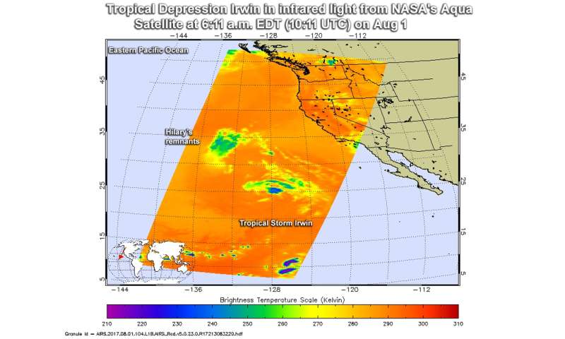 NASA sees tiny Tropical Depression Irwin winding down