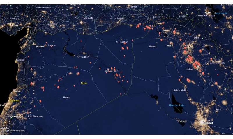 NOAA satellite data illuminate oil production trends in Iraq and Syria