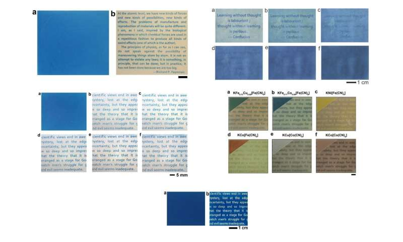 Various samples of the light-printable paper.
