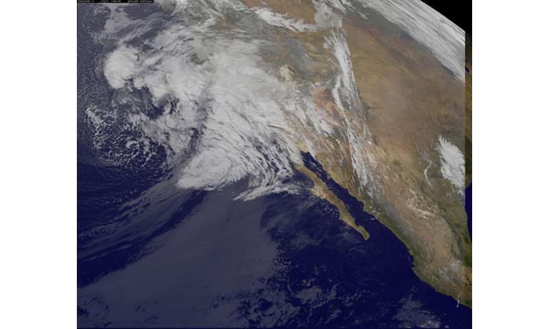Satellite views storm system affecting Southern California