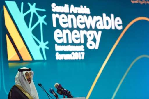 Saudi Minister of Energy, Industrial and Mineral Resources Khaled al-Falih speaks during the Saudi Arabia Renewable Energy Inves